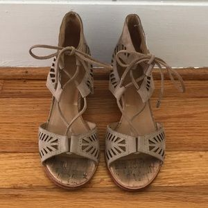 Laser cutout suede taupe wedge sandals